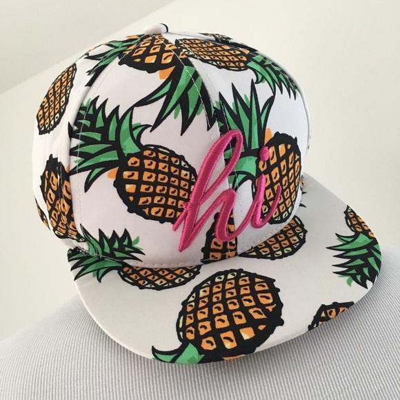 677c7d1f7d05fb Charlotte Russe Accessories - HI HAWAII HAWAIIAN TROPICAL PINEAPPLE  SNAPBACK HAT